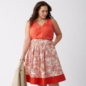 PLUS: Lane Bryant Orange Leaf Print Skirt Sz 18